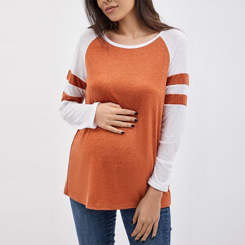 Maternity Round Neck  Patchwork T-Shirts