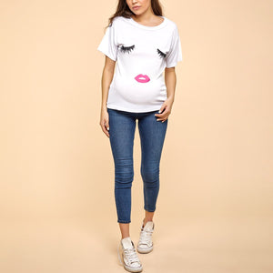 Maternity Round Neck Lips Printed Short Sleeve T-Shirts