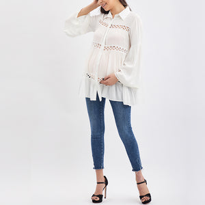 Maternity Solid Color Long Sleeve Shirt