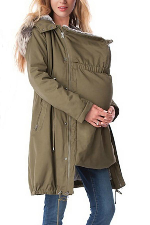 689a6af41d16d ... Load image into Gallery viewer, Maternity 2-In-1 Cotton Canvas Parka  Without ...