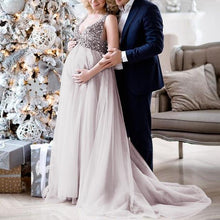 Load image into Gallery viewer, Maternity V-Neck Maxi Tulle Gown With Tonal Delicate Sequins
