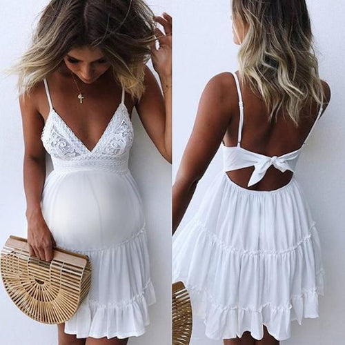 Maternity Lace Strap Stitching Casual Dresses