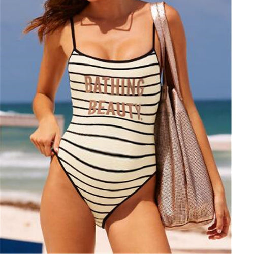 Maternity Striped Printed Sling Swimsuit