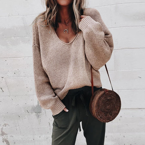 Multicolor V-Neck Loose Knit Sweater