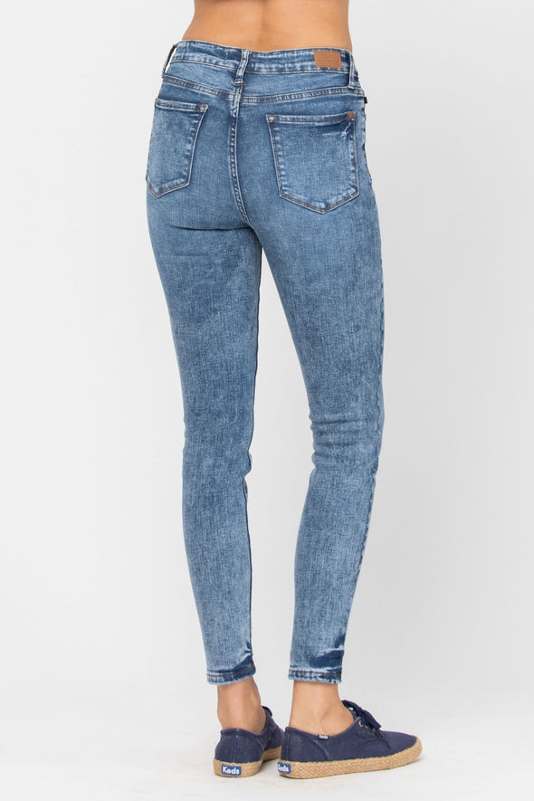 Judy Blue High Waist Acid/Mineral Wash Skinny Jeans