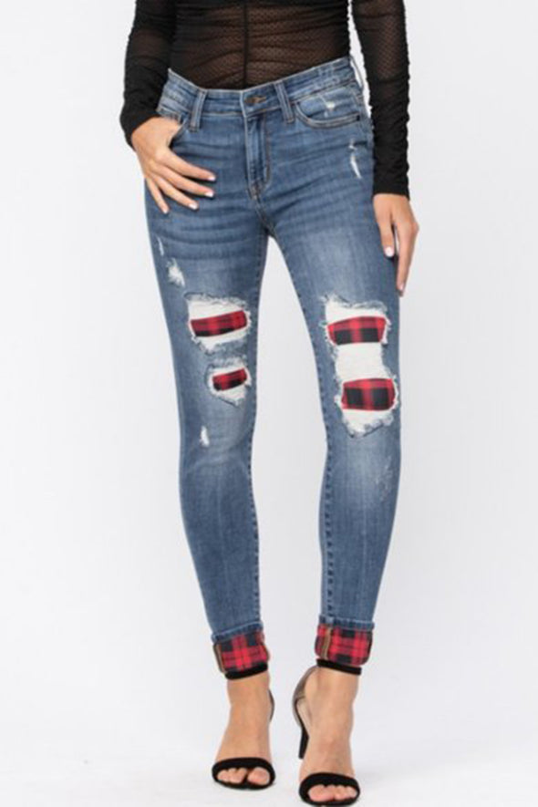 Judy Blue Plaid Patch & Cuff Skinny Jeans