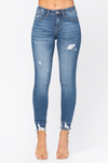 Judy Blue Distressed High Waist Release Hem Skinny Jeans