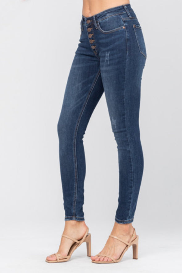 Judy Blue Button Fly Skinny Jeans