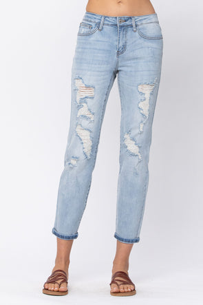 Judy Blue Mid Rise Destroyed Boyfriend Jeans - Light Wash