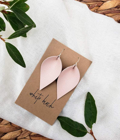 Leather Leaf Earrings - Light Pink