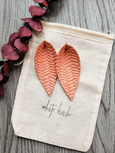 Braided Leather Leaf Earrings - Peach