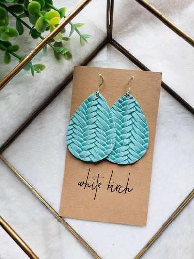 Braided Leather Teardrop Earrings - Teal