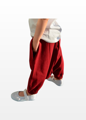 Sarouel Jogging Fille Bordeaux
