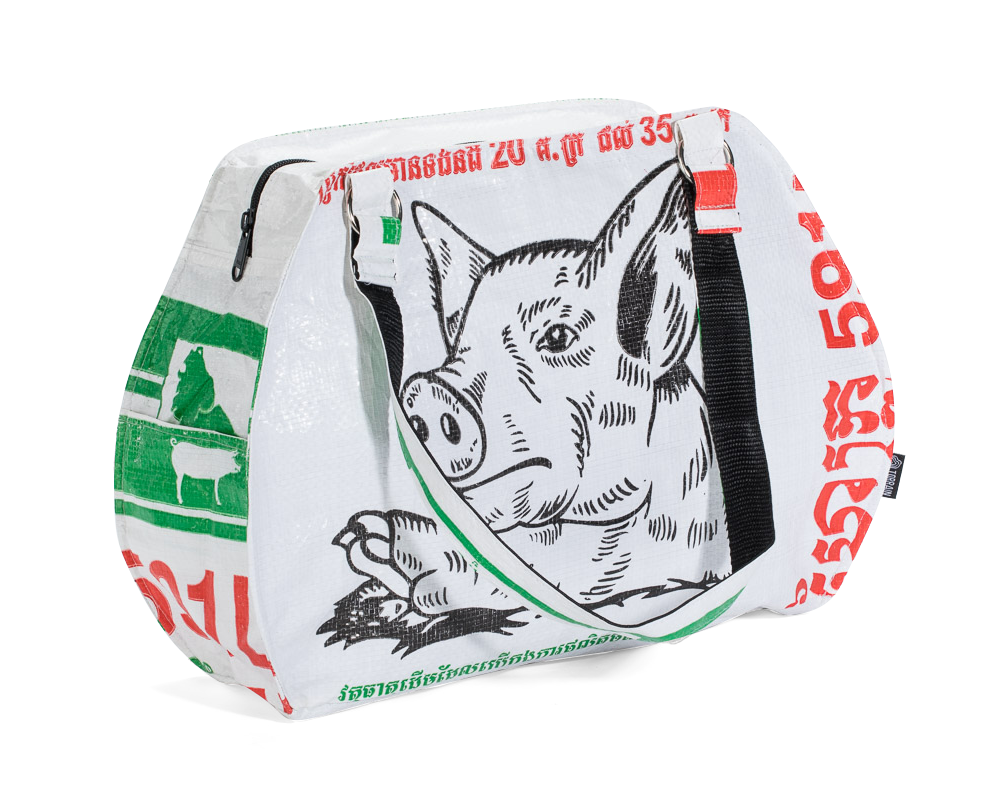 TORRAIN Recycled Bags, Designed in Portland, Oregon : Picnic Handbag in white with pig face colorway