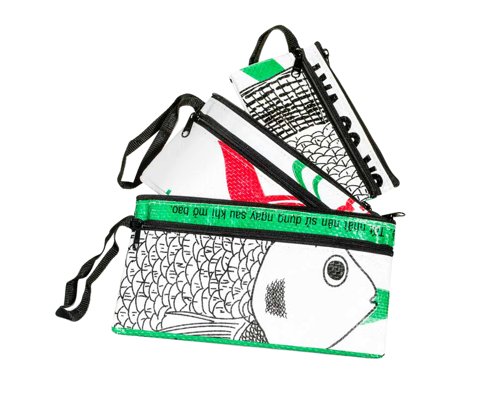 TORRAIN Recycled Bags, Designed in Portland, Oregon : Three piece zippered pouch in green and white fish colorway