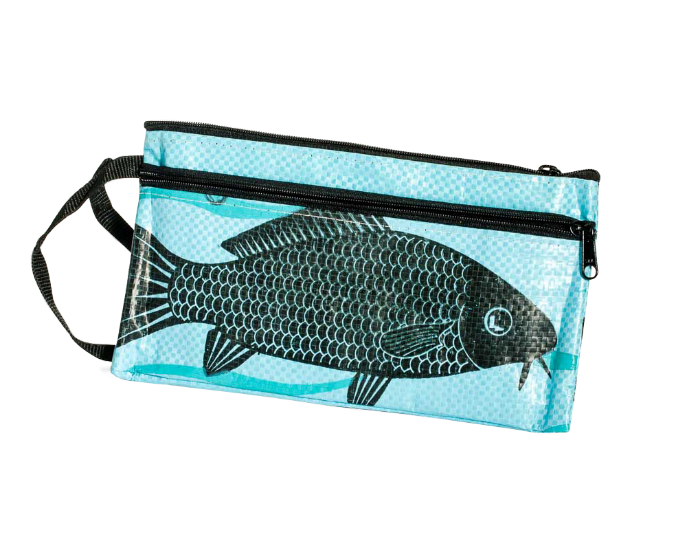 TORRAIN Recycled Bags, Designed in Portland, Oregon : Zippered pouch in light blue fish colorway