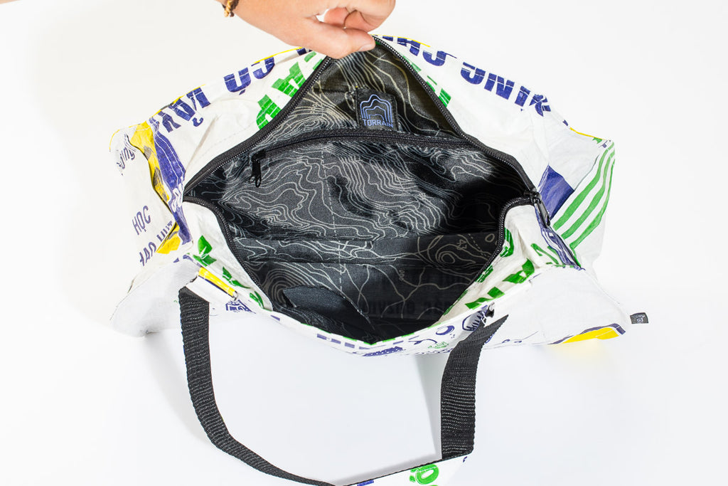 TORRAIN Recycled Bags, Designed in Portland, Oregon : Picnic Handbag with recycled water bottle interior with topographic print