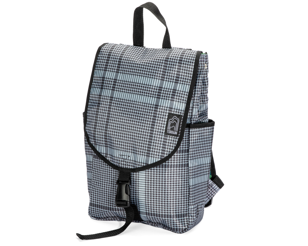 TORRAIN Recycled Bags, Designed in Portland, Oregon : Venture backpack in houndstooth print colorway