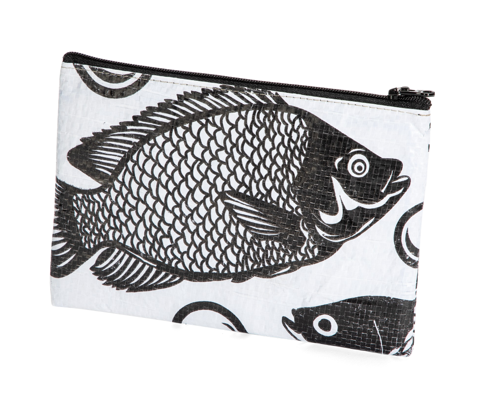 TORRAIN Recycled Bags: Small, padded pouch in black and white colorway