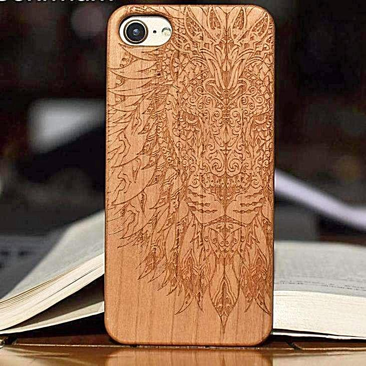pretty nice 591fe 61ff7 Lion Real Wood Cell Phone Case for iPhone