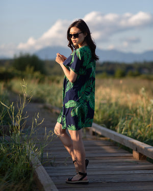 Maya Island short kimono style. Navy kimono style with vibrant green palm leaf print, short sleeves. Great for the beach, summer, and vacation! The Kimono Store Canada
