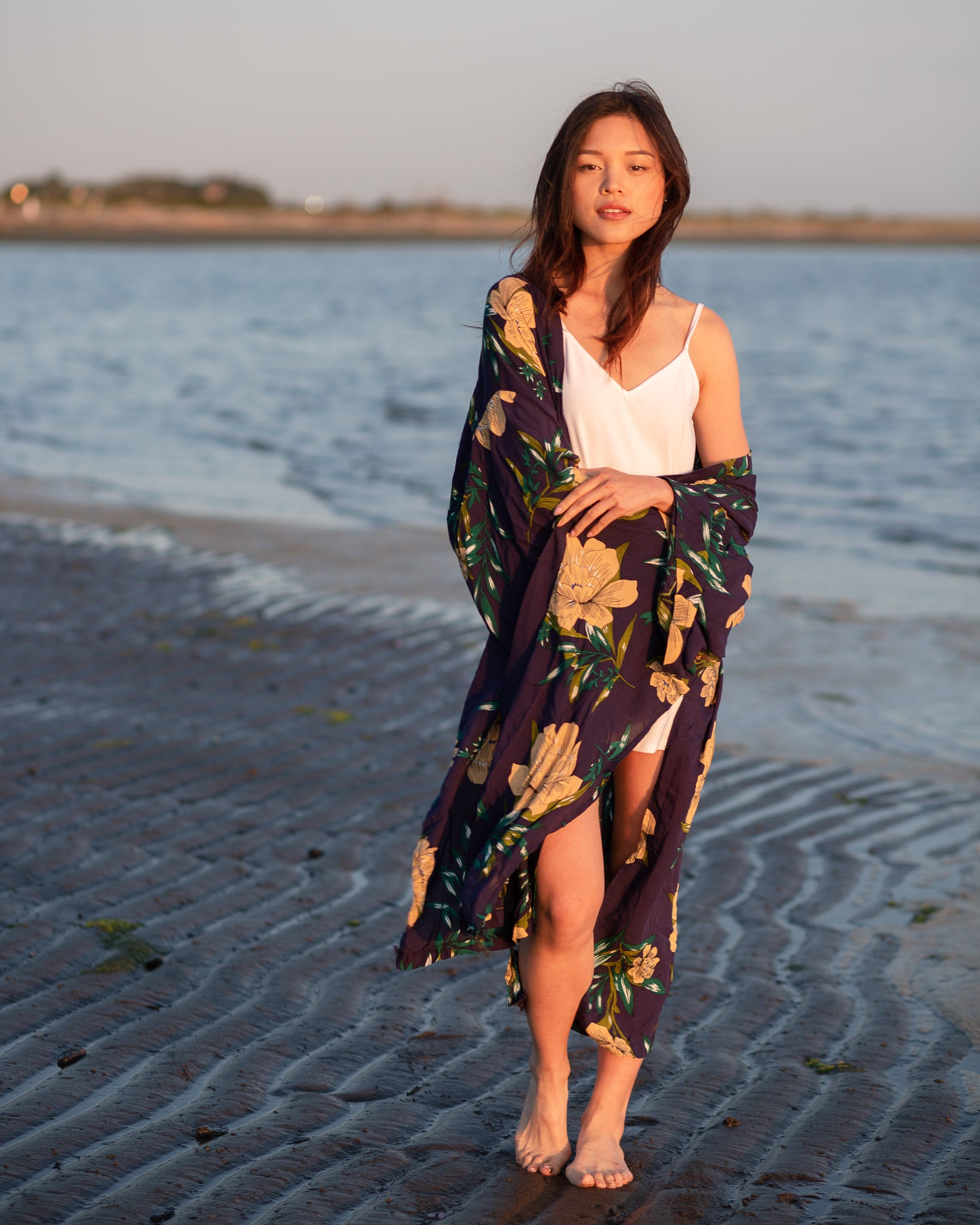 Stephanie long floral kimono style in navy. Bell style sleeves. The Kimono Store Canada