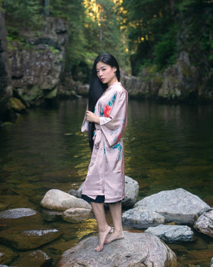 women's short pink kimono robe, gifts for her