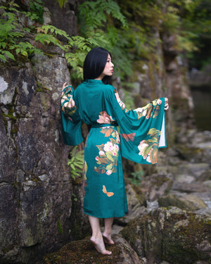 women's long kimono robe in green with floral print, maternity fashion