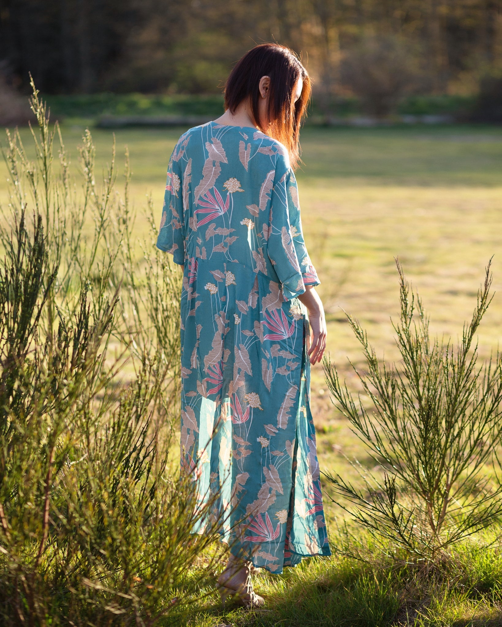 Long blue duster floral kimono, beach cover up, the kimono store canada