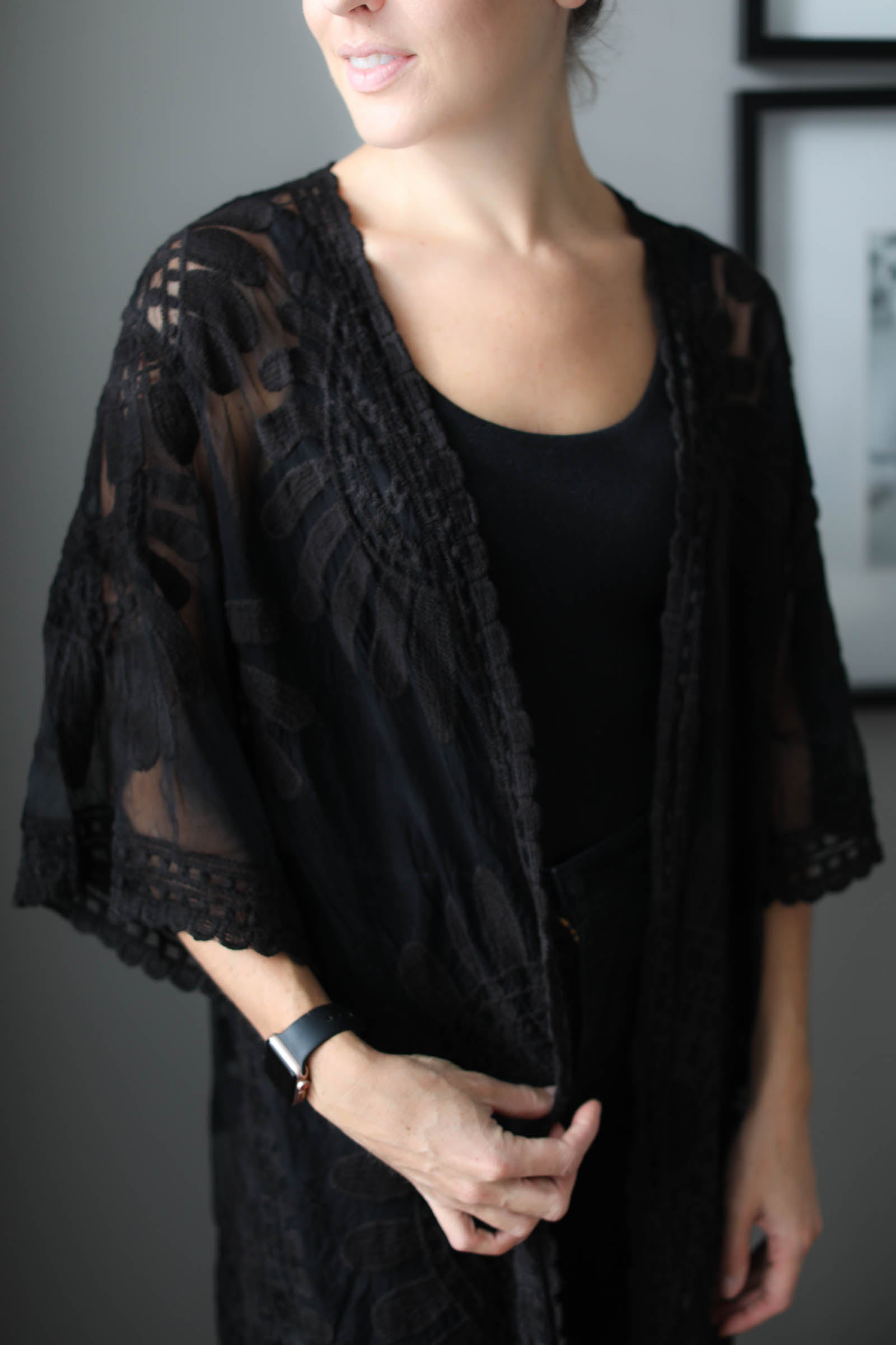 Alexis Long Lace Kimono Duster in Black