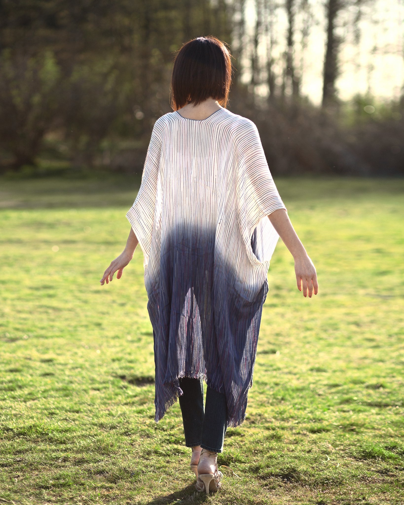 women's blue ombre kimono duster, back view