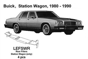 Buick Station Wagon Rear Fillers 1980 1981 1982 1983 1984 1985 1986 1987 1988 1989 1990  LEFSWR