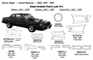 Buick Regal / Grand National / GNX Non-locking 1981 1982 1983 1984 1985 1986 1987  BTTNL01K