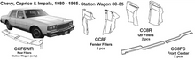 Load image into Gallery viewer, Chevrolet Caprice / Impala / Station Wagon Quarter Fillers 1980 1981 1982 1983 1984 1985  CC8R