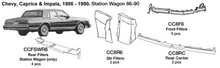Load image into Gallery viewer, Chevrolet Caprice / Impala / Station Wagon Quarter Fillers 1986 1987 1988 1989 1990  CC8R6