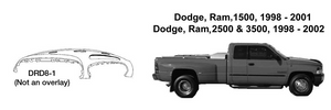 Dodge Trucks Ram 1500, 2500, 3500 Dash Replacement 1998 1999 2001 2002  DRD8-1
