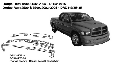 Dodge Trucks Ram 1500, 2500, 3500 Dash Replacement 2002 2003 2004 2005  DRD2-5/15