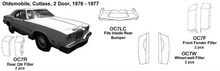 Load image into Gallery viewer, Oldsmobile Cutlass: 2 Door Fits Inside Rear Bumper 1976 1977  EXP94D