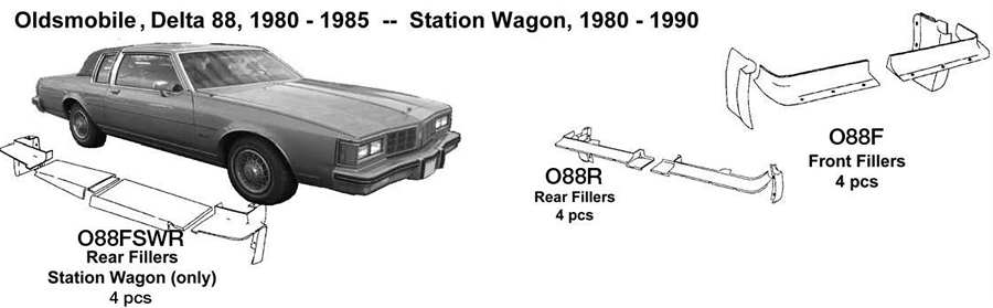 Oldsmobile Station Wagon Rear Fillers 1980 1981 1982 1983 1984 1985 1986 1987 1988 1989 1990  O88FSWR