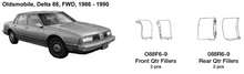 Load image into Gallery viewer, Oldsmobile Delta 88 FWD Front Quarter Fillers 1986 1987 1988 1989 1990  O88F6-9