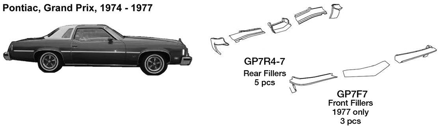 Pontiac Grand Prix Rear Fillers 1974 1975 1976 1977  GP7R4-7