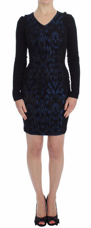 Blue Black Sleeve Mini Sheath Dress