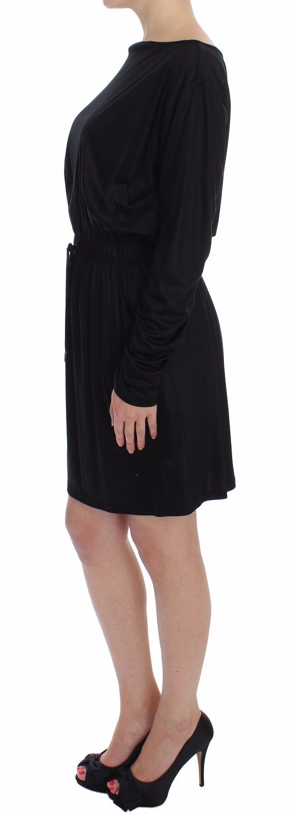 Black Modal Silk Shift Knee Dress