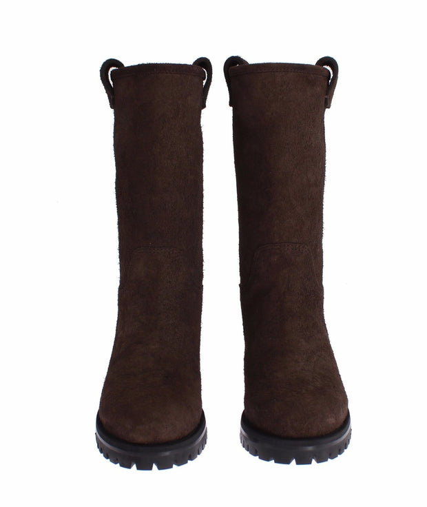 Brown Boots Leather Mid Calf