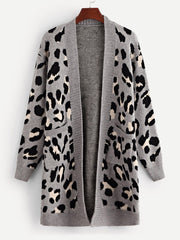 Pocket Patched Leopard Print Cardigan