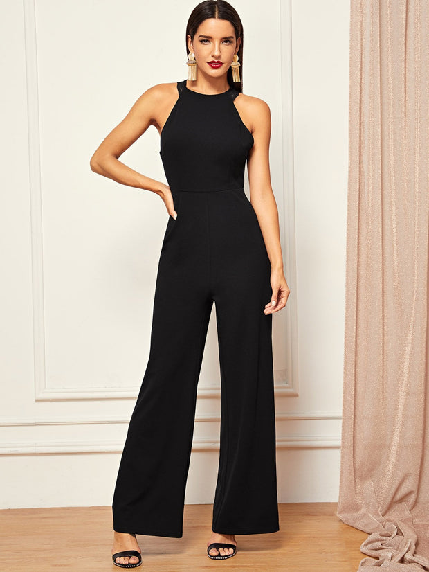 Lace Trim Wide Leg Jumpsuit