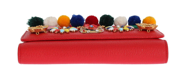 Purse VON Red Leather Crystal Carretto POM POM