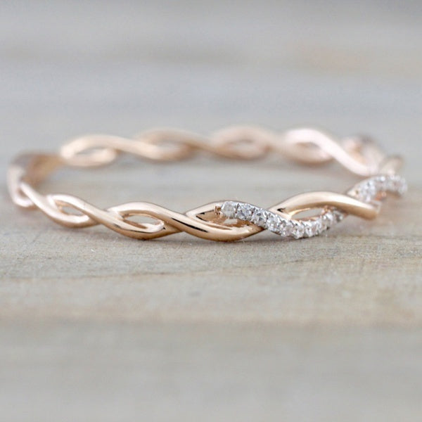 Solid Rose Gold Stack Twisted Rhinestone