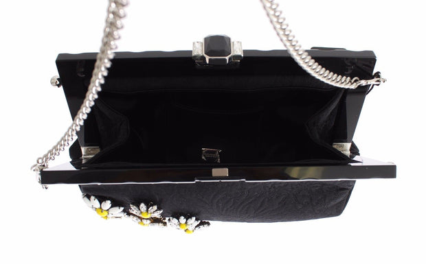 Purse VANDA Black Brocade Floral Crystal Clutch