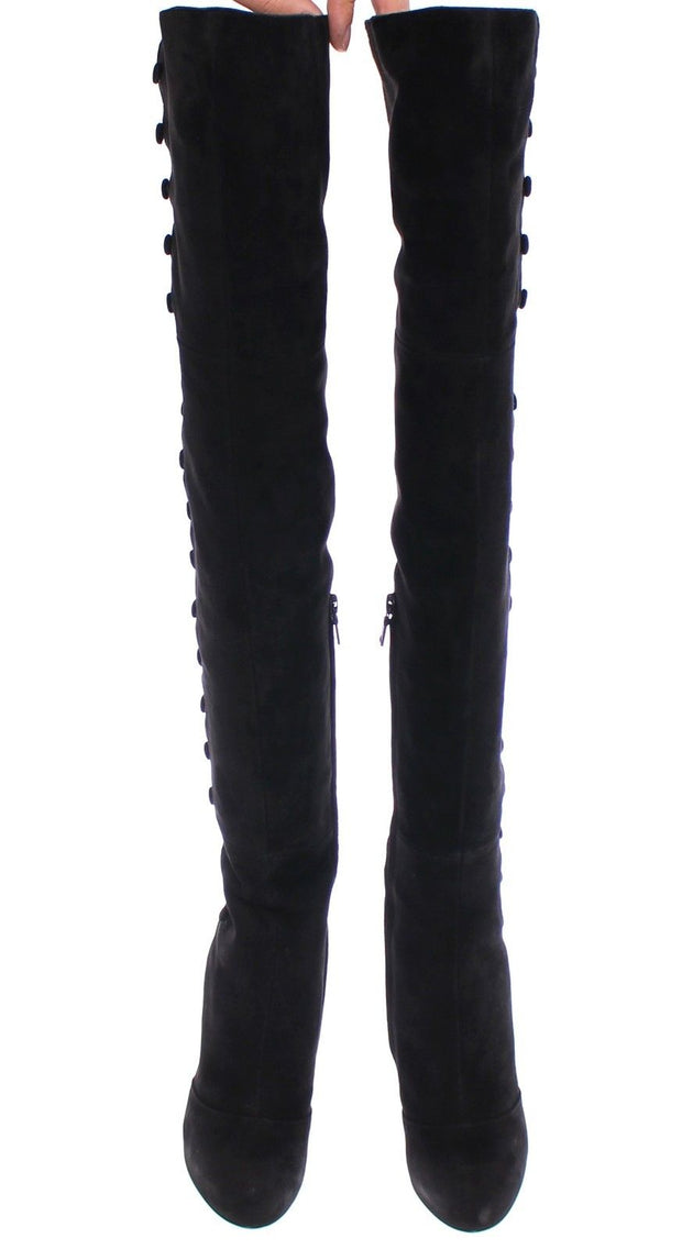 Black Suede Leather Over Knee Boots